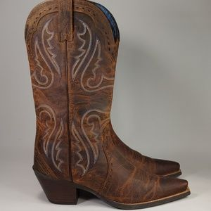 Womens Ariat Brown Leather Snip Toe Cowboy Boots